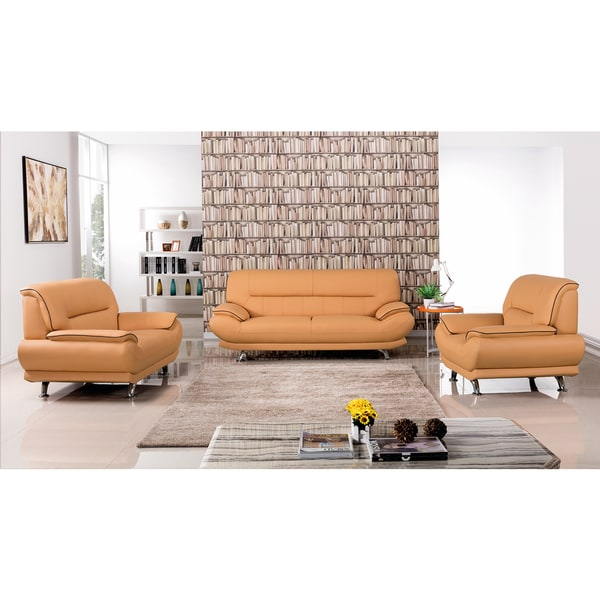 Shop Yellow Genuine Leather Sofa Set