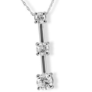 Three stone diamond necklaces for less overstock 14k white gold 1 58 ct tdw three stone diamond pendant aloadofball