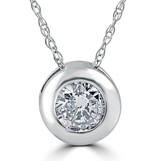 14k White Gold 3/4 ct TDW Diamond Solitaire Bezel Pendant