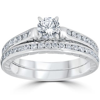 14K White Gold 1 ct TDW Vintage Diamond Engagement Wedding Ring Set