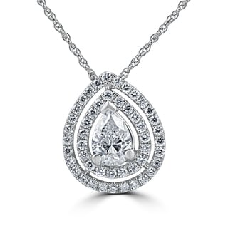 18k White Gold 1 1/4ct TDW Pear Shape Diamond Double Halo Pendant (G-H,VS1-VS2)