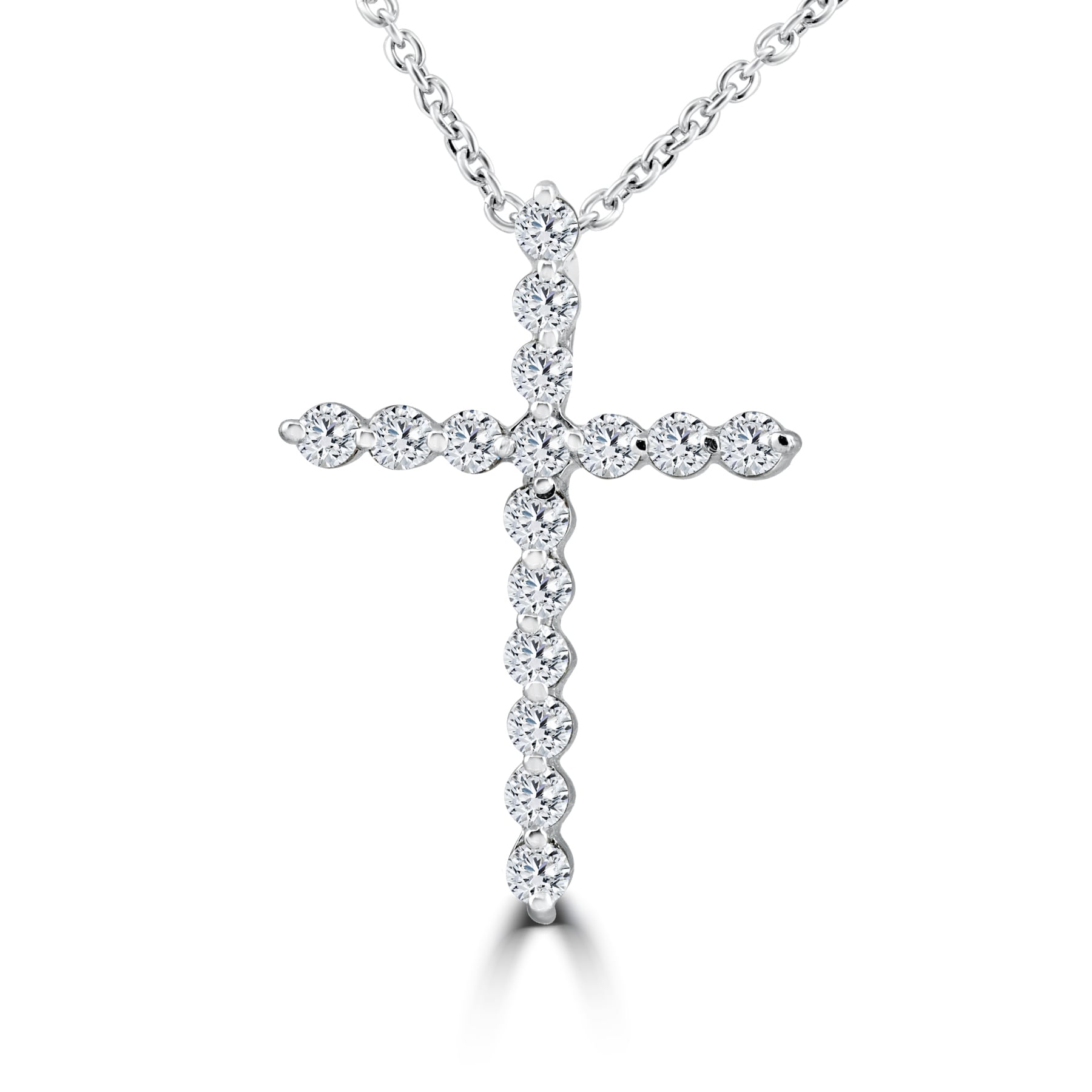 "3Ct Round Cut Diamond 3-Cross Pendant 16/"" Necklace 14K White Gold Finish"