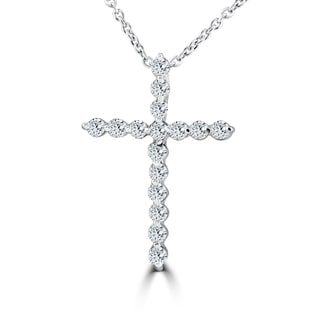 14k White Gold 3/8 ct TDW Diamond Cross Pendant White Gold Necklace (I-J,I2-I3)