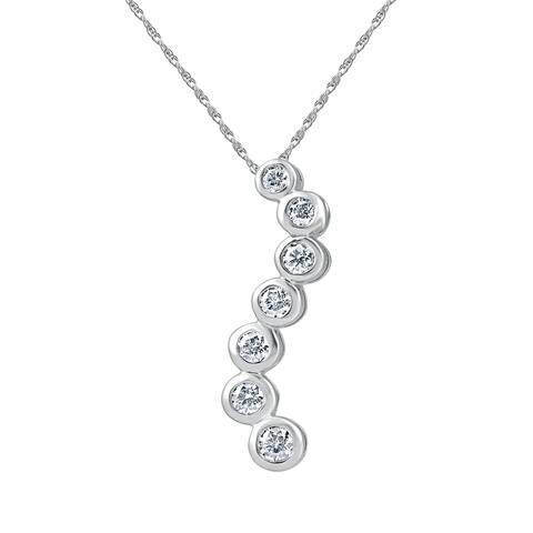 "14k White Gold 1 1/2ct TDW Diamond Bezel Journey Pendant Necklace 18"" Chain"