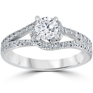 14K White Gold 1ct Twist Round Cut Diamond Engagement Ring