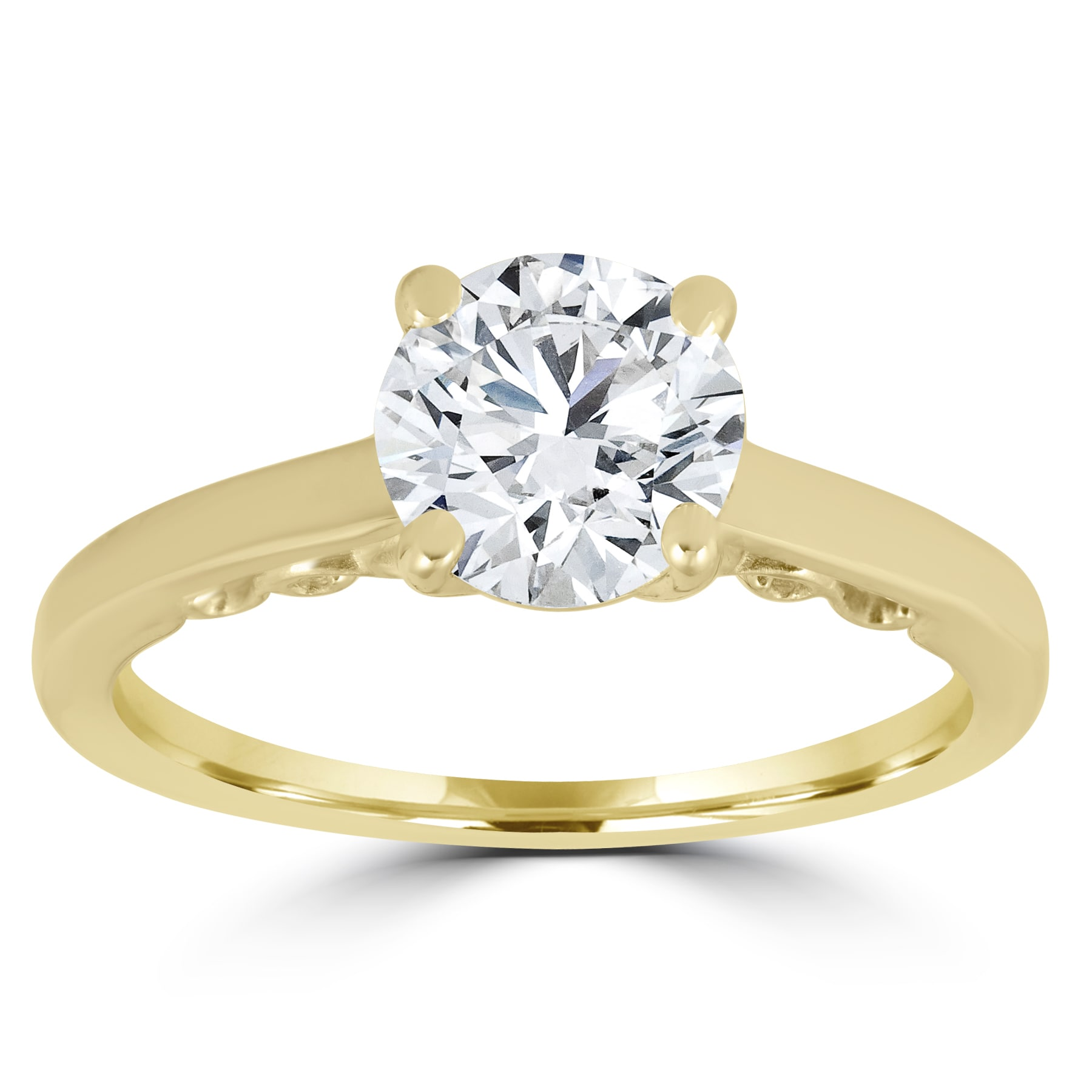 1Ct Round Brilliant Cut Diamond Solitaire Engagement Ring 14K Yellow Gold Finish