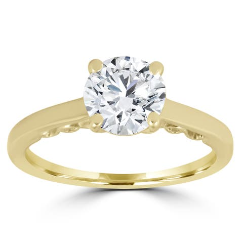14K Yellow Gold 1 ct TDW Diamond Clarity Enhanced Round Brilliant Solitaire Engagement Ring - White