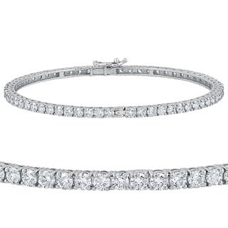 14k White Gold 5 1/4 ct TDW Round Diamond Bangle Bracelet (G-H,SI1-SI2)