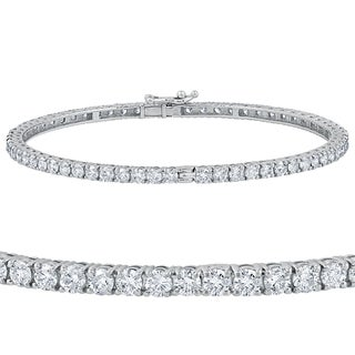 14k White Gold 5 1/4 ct TDW Round Diamond Bangle Bracelet