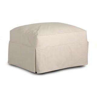 Klaussner Furniture Jenny Off-white Cotton Slip-covered Ottoman