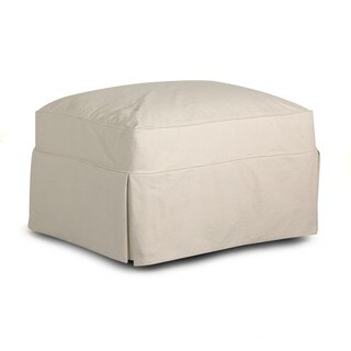 Made to Order Klaussner Furniture Jenny Off-white Cotton Slip-covered Ottoman