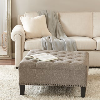 Madison Park Alice Taupe Tufted Square Cocktail Ottoman