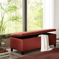 Madison Park Sasha Rust Red Tufted Top Storage Bench