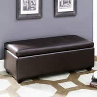 Brown Leather-infused Fabric Button Tufted Storage Ottoman