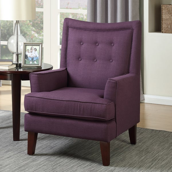 Shop Bella Mid Century Inspired Purple Upholstered Arm