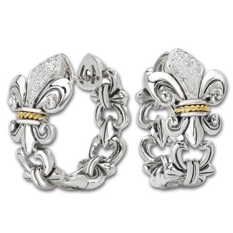 Avanti Sterling silver and 18K Yellow Gold 1/8 CT TDW Diamond Fleur-De-Lis Design Hoop Earrings