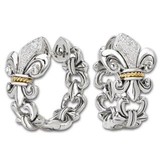Avanti Sterling silver and 18K Yellow Gold 1/8 CT TDW Diamond Fleur-De-Lis Design Hoop Earrings (G-H, SI2-SI3)