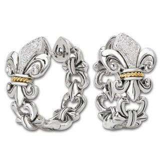 Avanti Sterling silver and 18K Yellow Gold 1/8 CT TDW Diamond Fleur-De-Lis Design Hoop Earrings