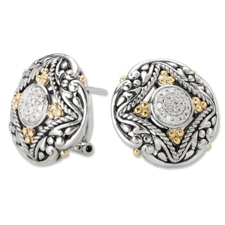 Avanti Sterling Silver and 18K Yellow Gold 1/6 CT TDW Diamond Cluster Round Button Omega Clip Earrings (G-H, SI2-SI3)