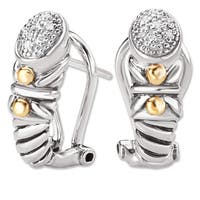 Avanti Sterling silver and 18K Yellow Gold Diamond Accent Cluster Elongated Earrings