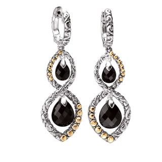Avanti Sterling Silver and 18K Yellow Gold Black Onyx Double Drop Infinity Design Earrings