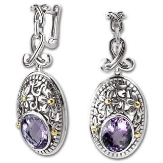 Avanti Sterling Silver and 18K Yellow Gold Oval Amethyst Flower Design Dangle Earrings