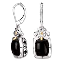 Avanti Sterling Silver and 18K Yellow Gold Black Onyx Cabochon Fleur-De-Lis Design Leverback Earrings