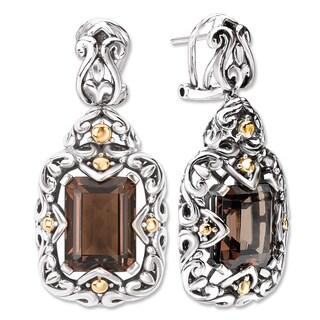 Avanti Sterling Silver and 18K Yellow Gold Emerald Cut Smoky Quartz Swirl Design Dangle Earrings