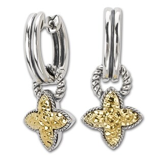 Avanti Sterling Silver and 18K Yellow Gold Hammered Clover Design Dangle Earrings