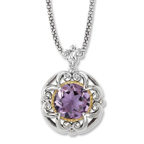 Avanti Sterling Silver and 18K Yellow Gold Round Amethyst Rope Design Pendant Necklace