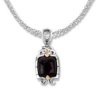 Avanti Sterling Silver and 18K Yellow Gold Black Onyx Cabochon Fleur-De-Lis Design Pendant Necklace
