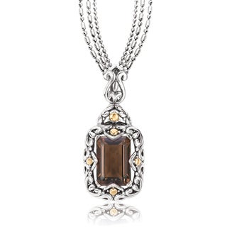 Avanti Sterling Silver and 18K Yellow Gold Emeral Cut Smoky Quartz Swirl Design Pendant Necklace