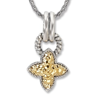 Avanti Sterling Silver and 18K Yellow Gold Hammered Clover Desgin Pendant Necklace