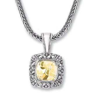 Avanti Sterling Silver and 14K Yellow Gold Hammered Square Shape Pendant Necklace