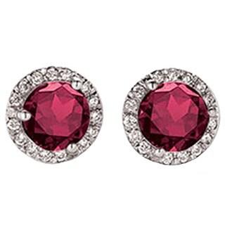 14k White Gold 1/2ct TGW Round Ruby and White Diamond Halo Style Stud Earrings (I-J, I2-I3)