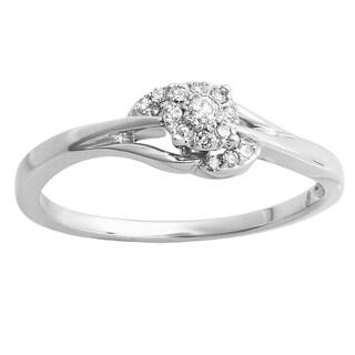 10k White Gold 1/6ct TDW Round Diamond Engagement Swirl Promise Bridal Ring (H-I, I1-I2)
