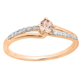 10k Rose Gold 1/3ct TGW Round Morganite and White Diamond Bridal Promise Engagement Ring (H-I, I1-I2)