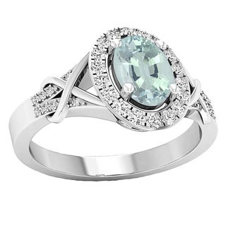 10k Gold 1 1/4ct TGW Oval-cut Aquamarine and Round White Diamond Bridal Engagement Ring (I-J, I1-I2)