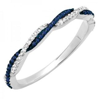 14k Gold 1/4ct TGW Round Blue Sapphire and White Diamond Anniversary Wedding Stackable Ring (I-J, I2-I3)