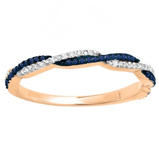 14k Gold 1/4ct TGW Round Blue Sapphire and White Diamond Anniversary Wedding Stackable Ring (I-J, I2-I3)