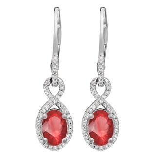 10k Gold 1 5/8ct TGW Ovel-cut Ruby and Round White Diamond Infinity Dangling Earrings (I-J, I2-I3)