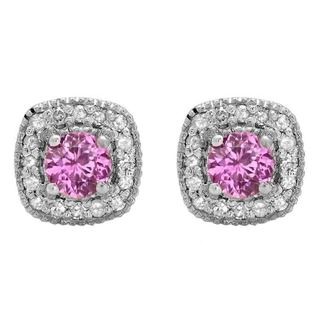 Sterling Silver 3/4ct TGW Round-cut Pink Sapphire and White Diamond Halo Stud Earrings (I-J, I2-I3)
