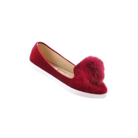 Hadari Women's Casual Fashion Slip On Burgundy Pom Pom Flat Shoes
