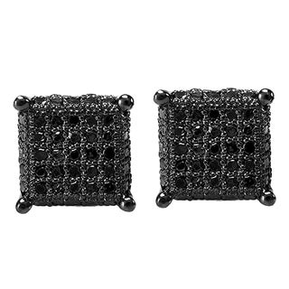 Sterling Silver Men's 1/2ct TDW Round Black Diamond Dice Shape Iced Stud Earrings