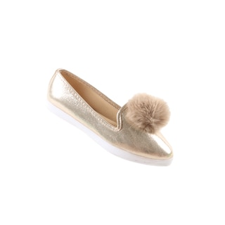 Hadari Women's Casual Fashion Slip On Gold Pom Pom Flat Shoes