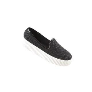 Hadari Women's Casual Studded Slip On Black Fashion Sneaker Shoes