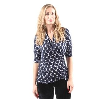 Hadari Women's Casual Sexy V-Neck Navy Blouse Shirt Tops