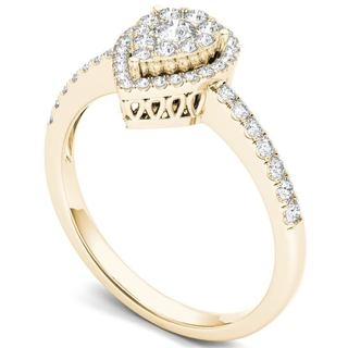 De Couer 14k Yellow Gold 1/2ct TDW Diamond Halo Ring (Option: 7.75)