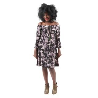Hadari Women's Sexy Off Shoulder Flower Print Evening Party Short Dress