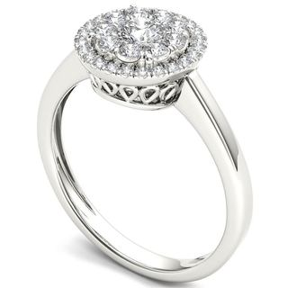 De Couer 14k White Gold 1/2ct TDW Diamond Halo Ring (H-I, I2)
